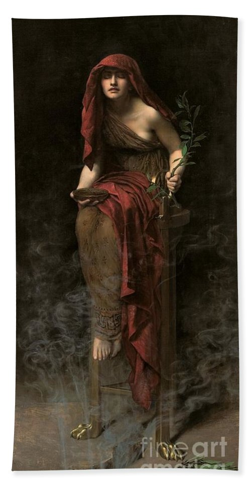 Portrait Bath Towel featuring the painting Priestess Of Delphi by John Collier