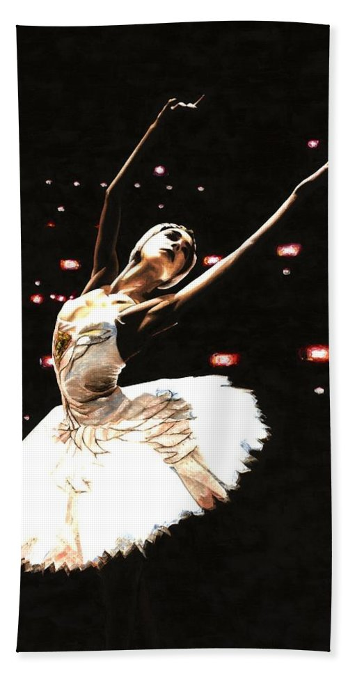 Prima Ballerina Hand Towel featuring the painting Prima Ballerina by Richard Young