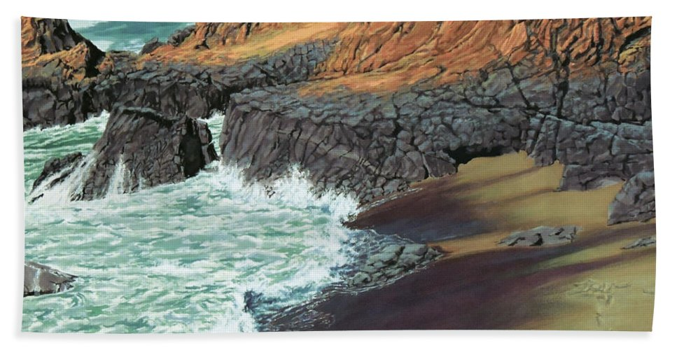Landscapes Bath Sheet featuring the painting Primal by Jon Hunter