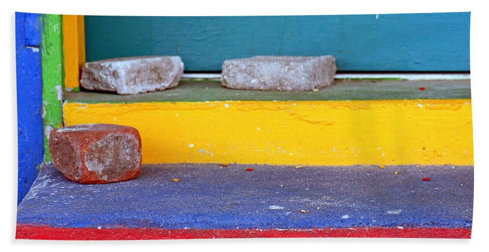 Red Hand Towel featuring the photograph Primary Colored Doorstep by John Harmon