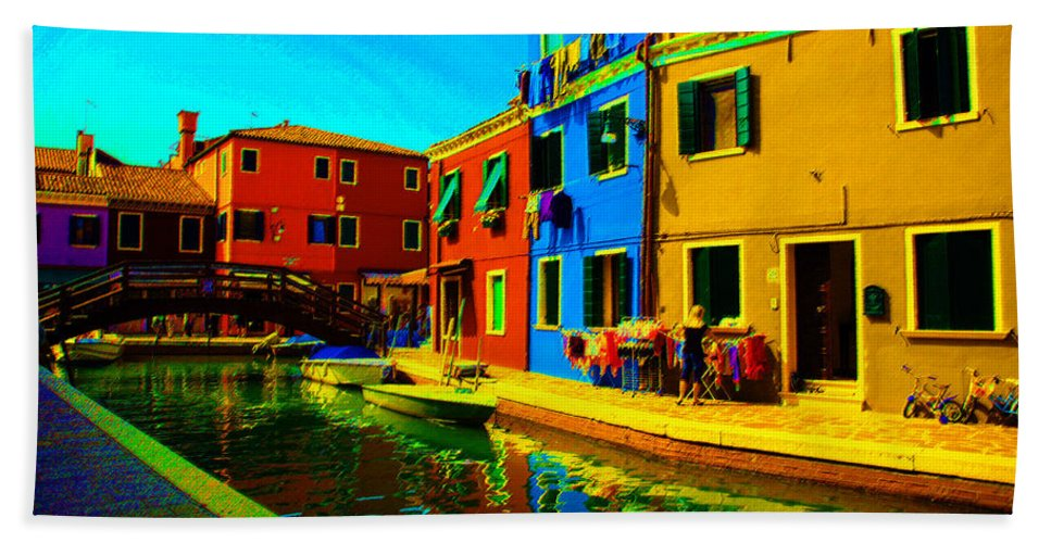 Burano Hand Towel featuring the pastel Primary Colors 2 by Donna Corless