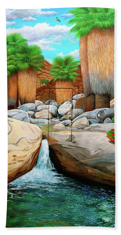 Landscape Hand Towel featuring the painting Primary Escape Route by Snake Jagger