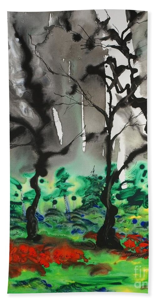 Forest Hand Towel featuring the painting Primary Forest by Nadine Rippelmeyer