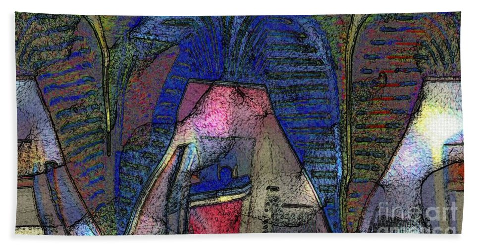 Abstract Hand Towel featuring the digital art Primitive Style by Ron Bissett