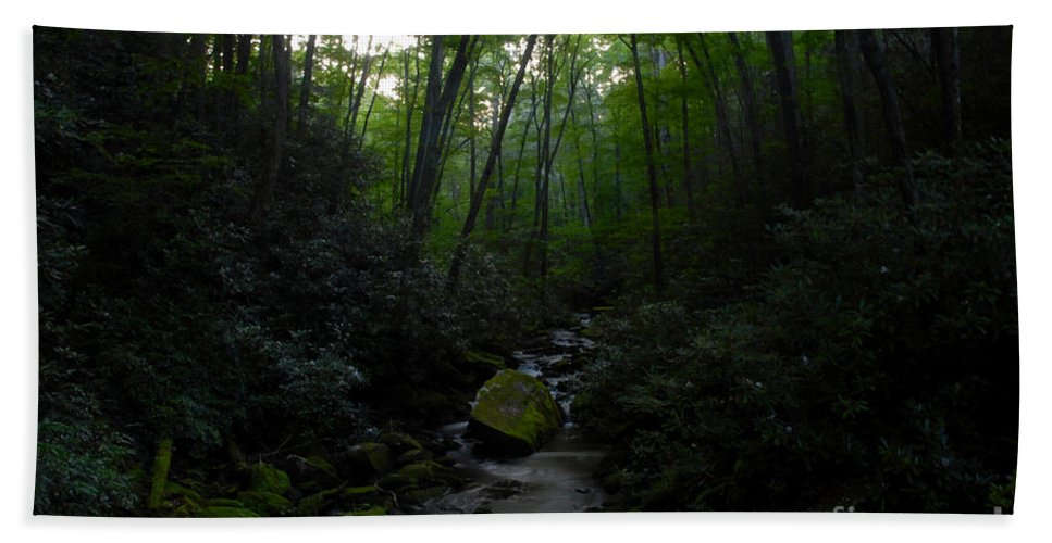 Primordial Forest Hand Towel featuring the painting Primordial Forest by David Lee Thompson