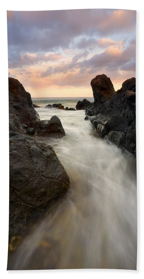 Sunrise Bath Towel featuring the photograph Primordial Tides by Mike Dawson