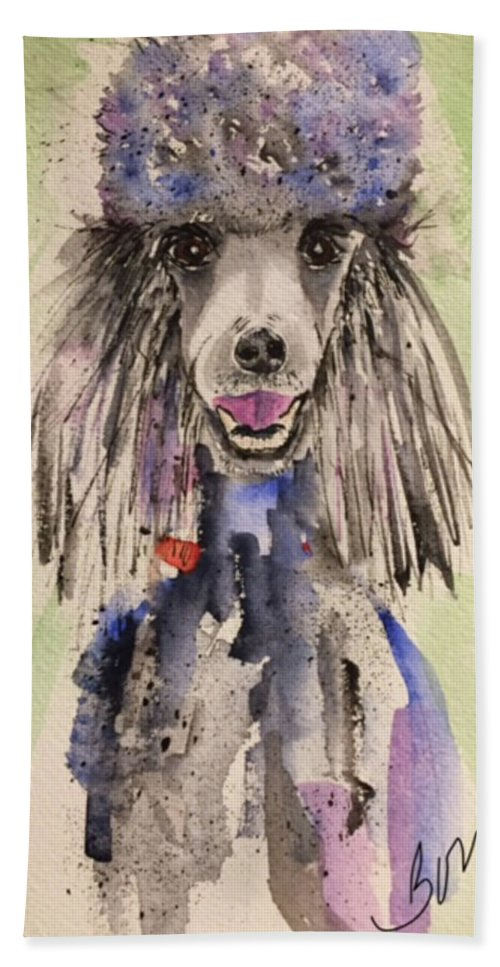 Dog Hand Towel featuring the painting Primp by Bonny Butler