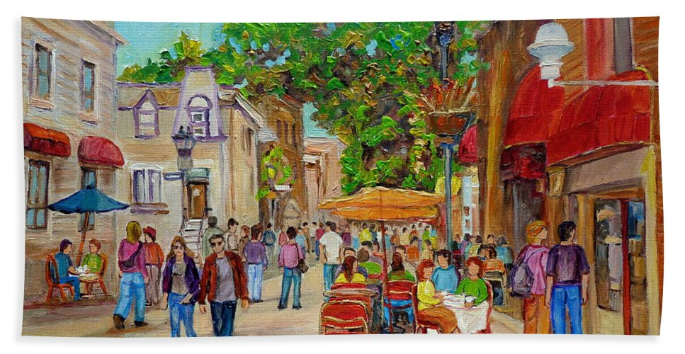 Montreal Hand Towel featuring the painting Prince Arthur Restaurants Montreal by Carole Spandau