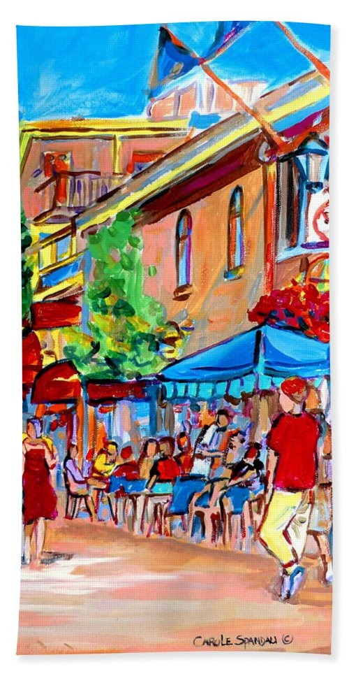Cafes Hand Towel featuring the painting Prince Arthur Street Summer by Carole Spandau