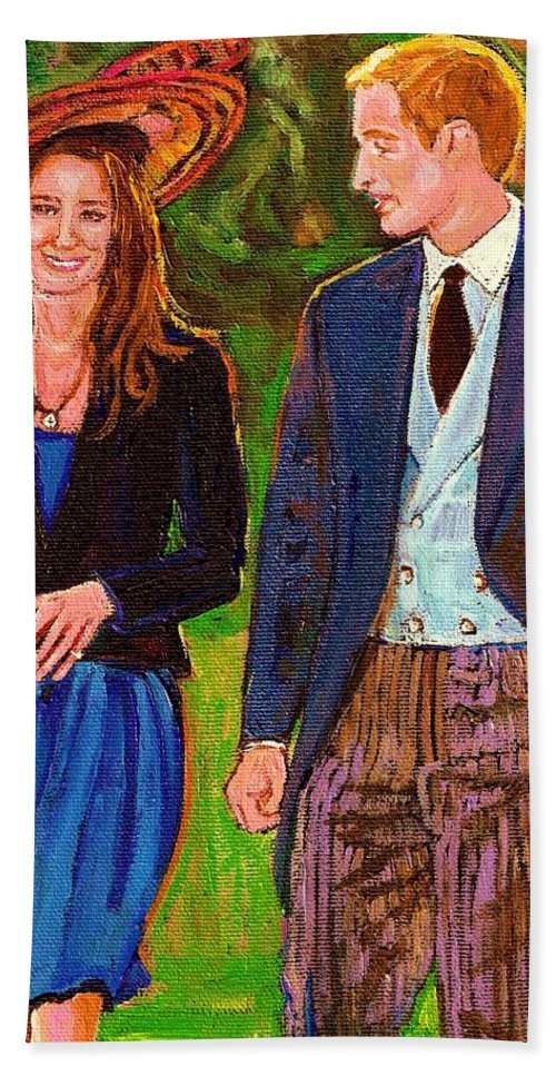 Wills And Kate Bath Towel featuring the painting Prince William And Kate The Young Royals by Carole Spandau