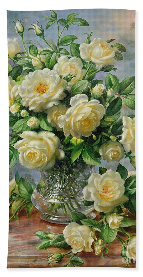 In Honour Of Lady Diana Spencer (1961-97); Still Life; Flower; Rose; Arrangement; Princess Of Wales (1981-96); Homage; Yellow; Flowers; Leafs Bath Towel featuring the painting Princess Diana Roses in a Cut Glass Vase by Albert Williams