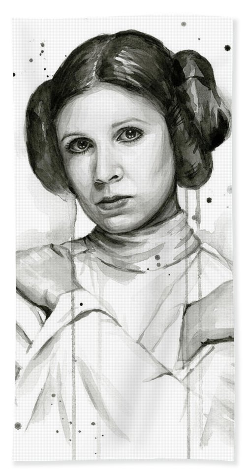 Leia Hand Towel featuring the painting Princess Leia Portrait Carrie Fisher Art by Olga Shvartsur