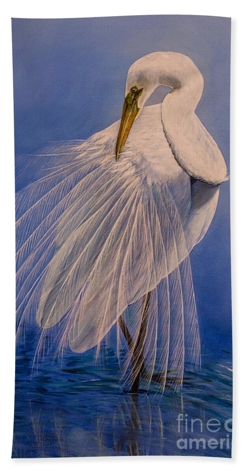 Egret Bath Sheet featuring the painting Princess Of The Mist by Zina Stromberg