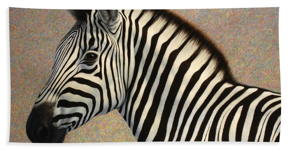 Zebra Bath Towel featuring the painting Principled by James W Johnson
