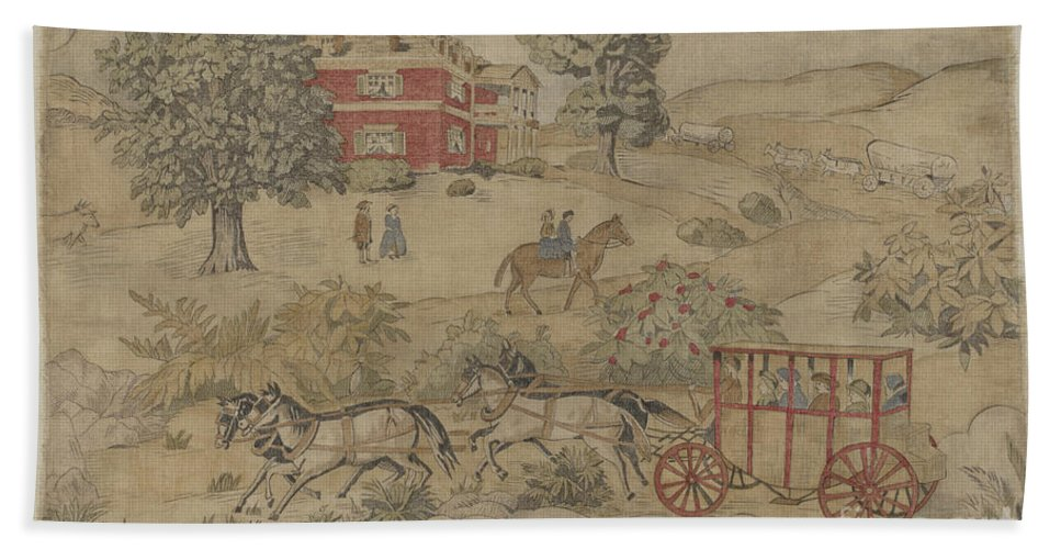 Hand Towel featuring the drawing Printed Textile: Genre Scene by Michael Trekur