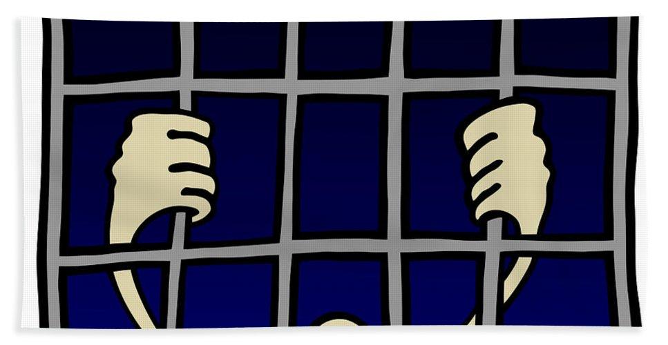 Prisoner Hand Towel featuring the drawing Prisoner by Michal Boubin