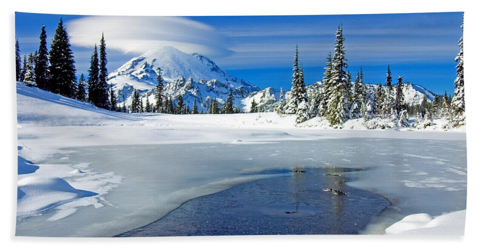 Rainier Bath Sheet featuring the photograph Pristine by Mike Dawson