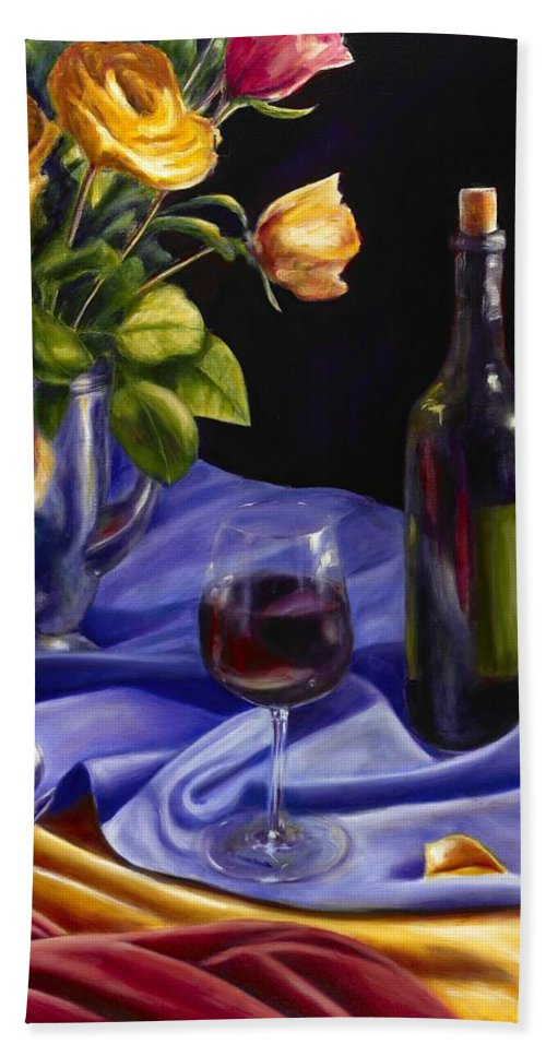 Still Life Bath Towel featuring the painting Private Label by Shannon Grissom