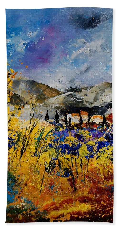 Poppies Artwork Hand Towel featuring the painting Procence 569011 by Pol Ledent