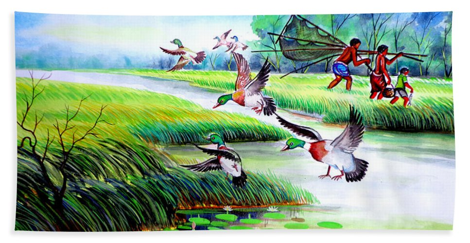 Art Photo Hand Towel featuring the painting Artistic Painting Photo Flying Bird Handmade Painted Village Art Photo by Contest Design