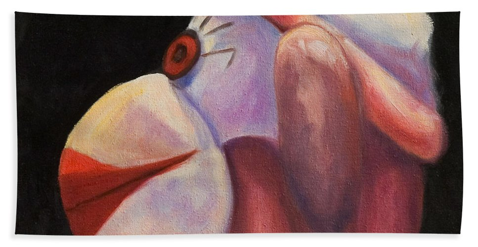 Monkey Bath Towel featuring the painting Profile by Shannon Grissom