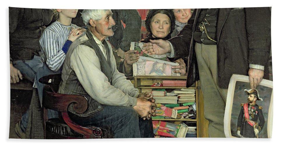 Propaganda Hand Towel featuring the painting Propaganda by Jean Eugene Buland