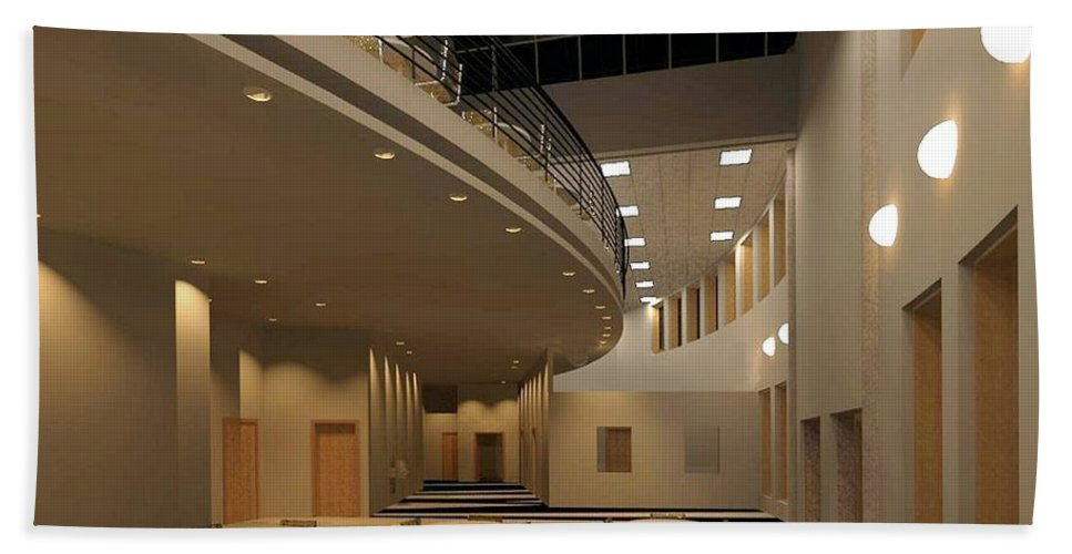 Lobby Rendering Bath Towel featuring the digital art Proposed Performing Arts Lobby by Ron Bissett