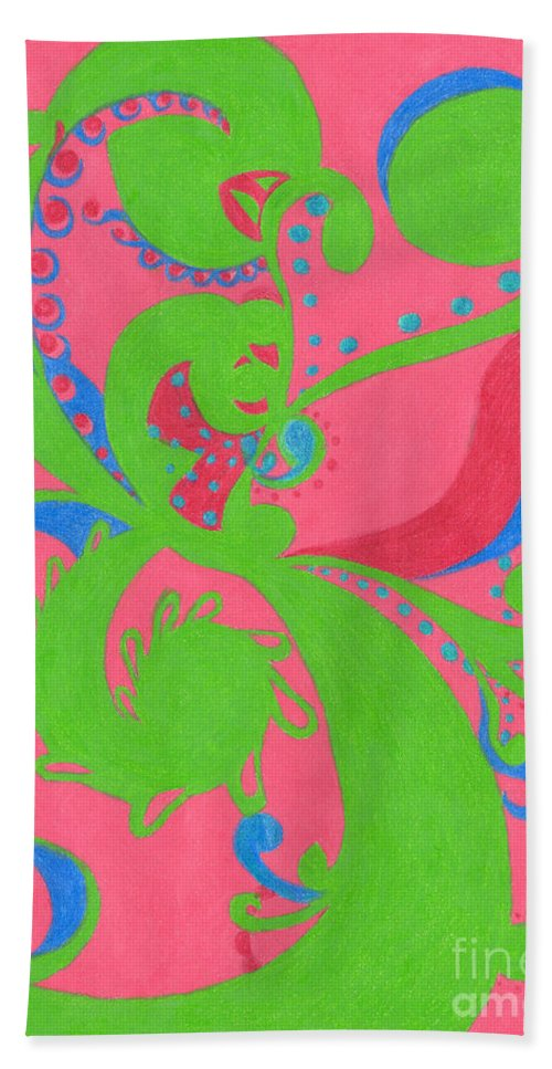 Color Bath Sheet featuring the drawing Prosperity by Kim Sy Ok