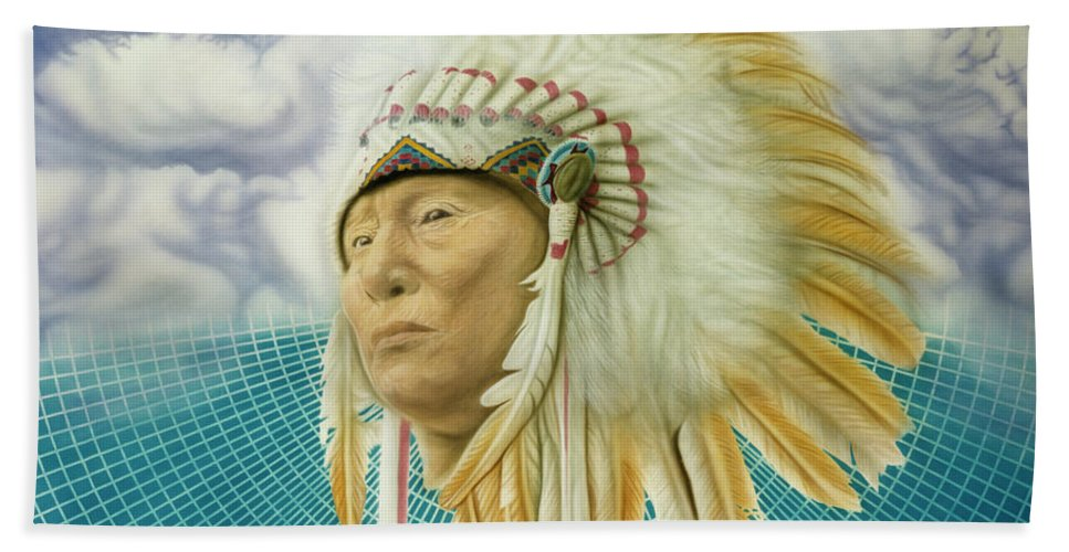 Native American Hand Towel featuring the painting Proud As An Eagle by Rich Milo