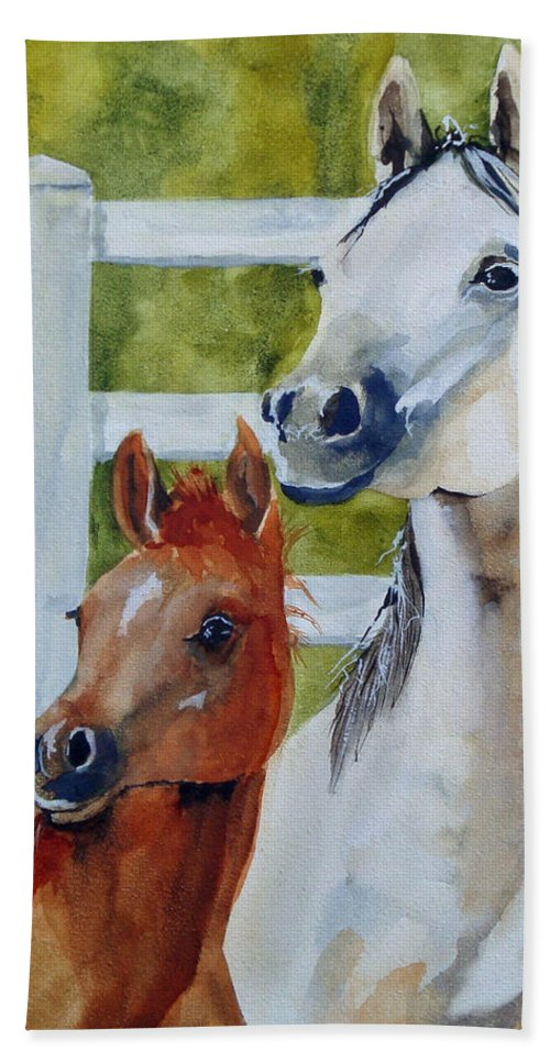 Equine Bath Towel featuring the painting Proud Mama by Jean Blackmer
