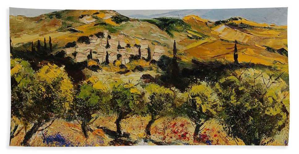 Provence Hand Towel featuring the painting Provence 10080 by Pol Ledent