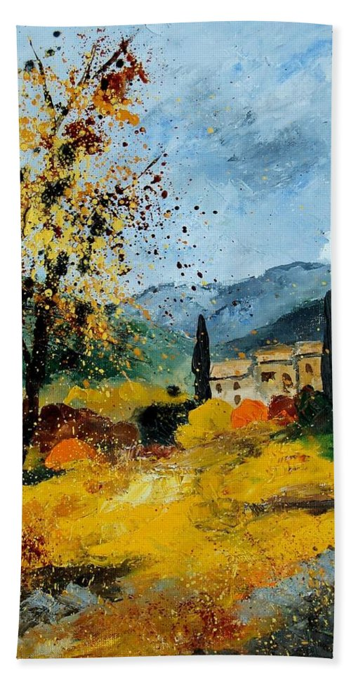 Provence Hand Towel featuring the painting Provence 45 by Pol Ledent