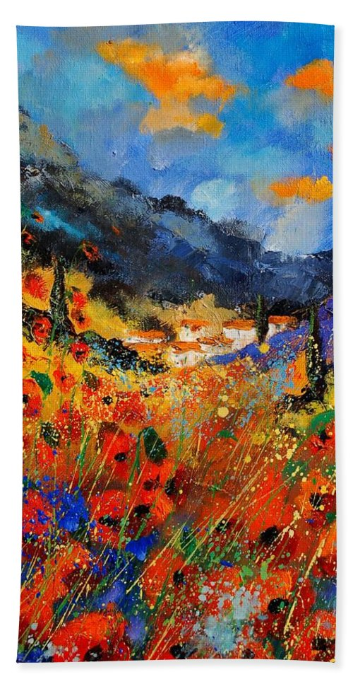 Bath Sheet featuring the painting Provence 459020 by Pol Ledent