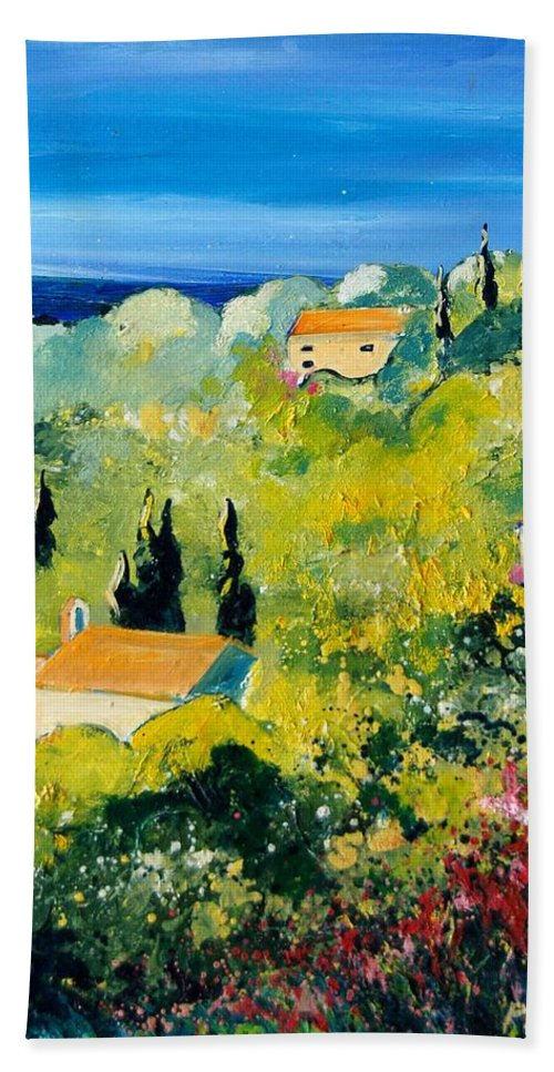 Village Bath Sheet featuring the painting Provence 459070 by Pol Ledent