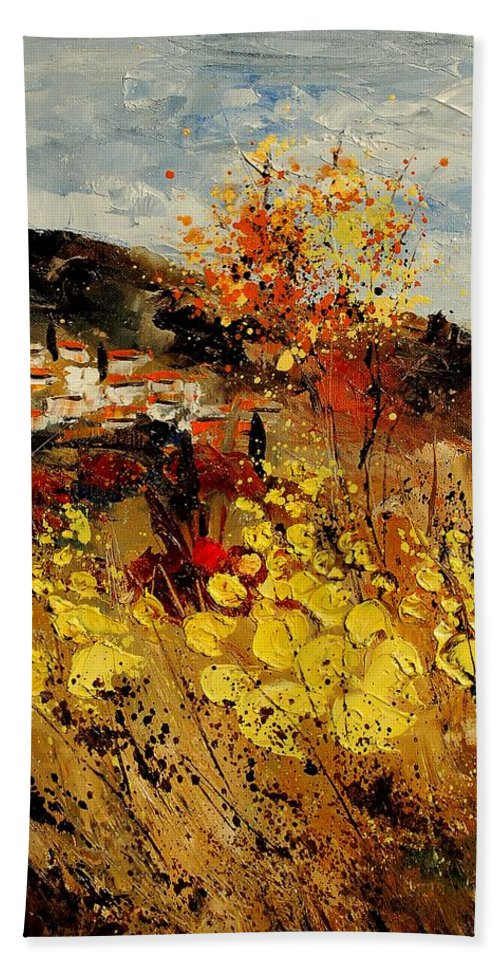 Provence Hand Towel featuring the painting Provence 459080 by Pol Ledent