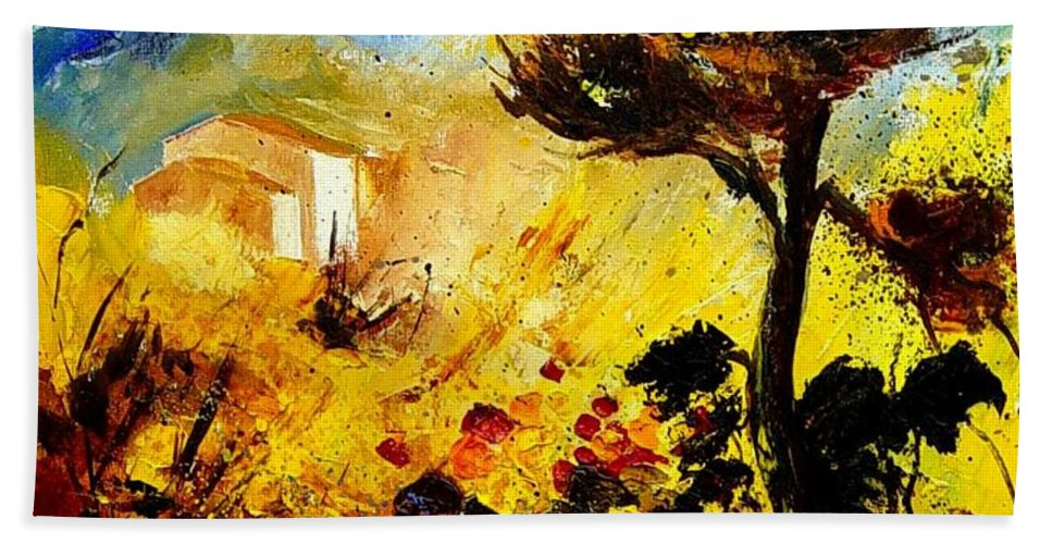 Flowers Hand Towel featuring the painting Provence 56 by Pol Ledent