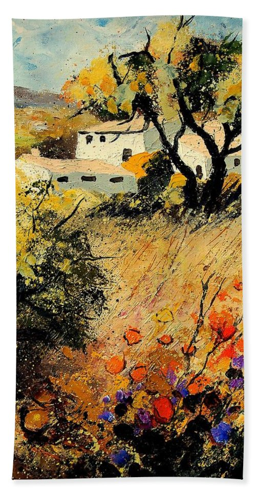 Provence Hand Towel featuring the painting Provence 56123 by Pol Ledent