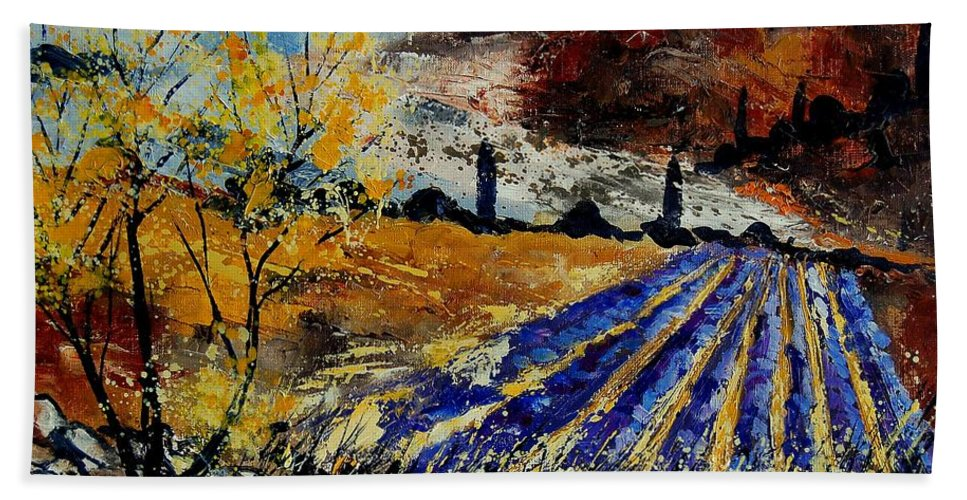 Provence Hand Towel featuring the painting Provence 564578 by Pol Ledent