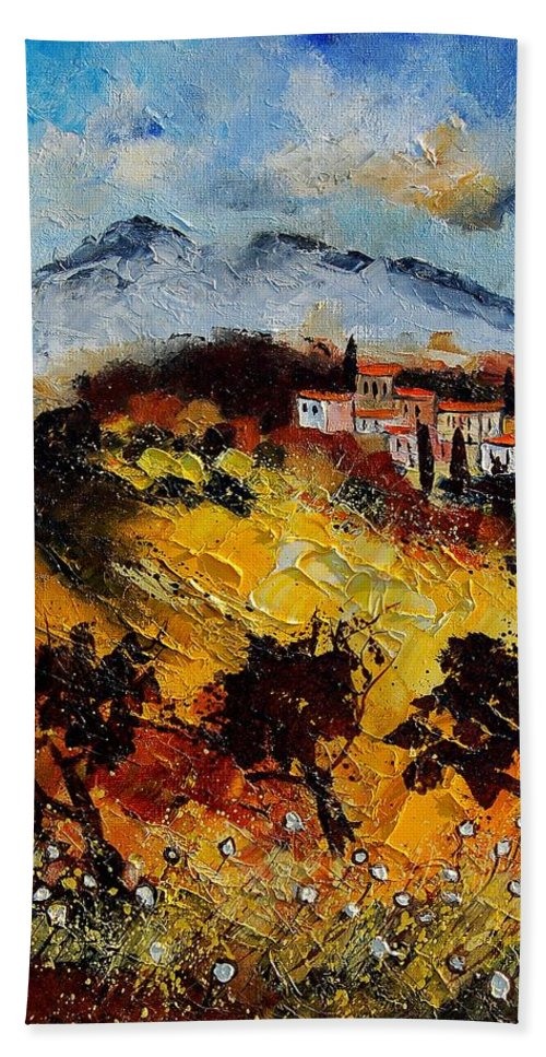 Provence Hand Towel featuring the painting Provence 5678952 by Pol Ledent