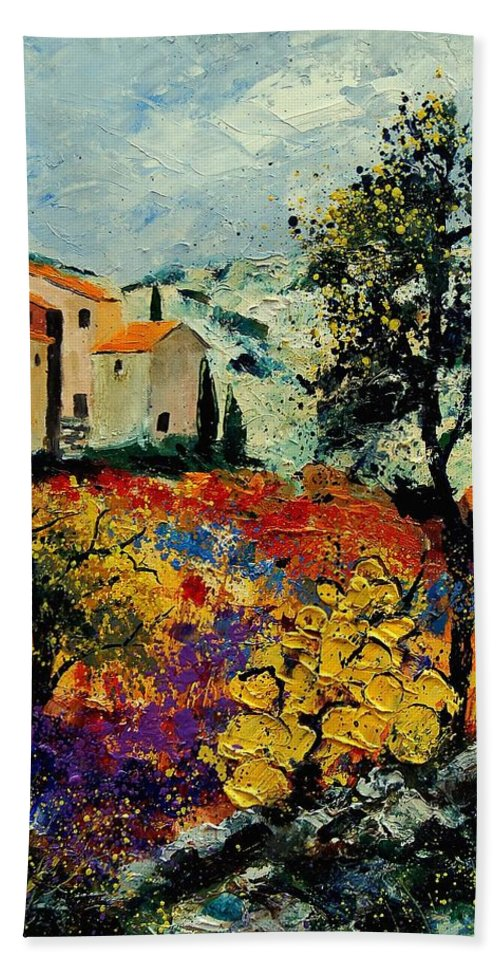 Provence Hand Towel featuring the painting Provence 56900192 by Pol Ledent