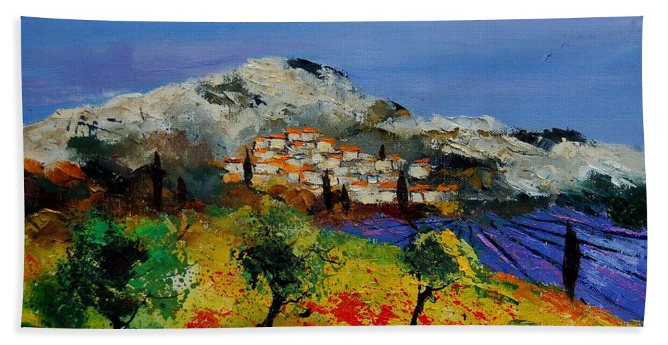 Provence Hand Towel featuring the painting Provence 569010 by Pol Ledent