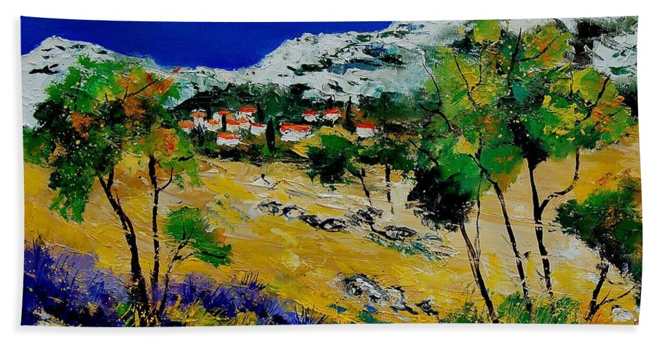 Provence Hand Towel featuring the painting Provence 569060 by Pol Ledent