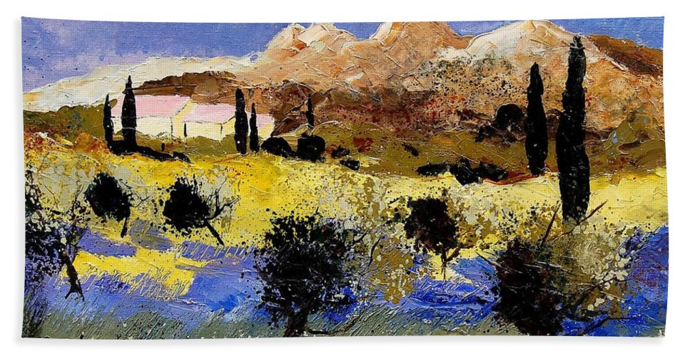 Provence Bath Towel featuring the painting Provence 674525 by Pol Ledent