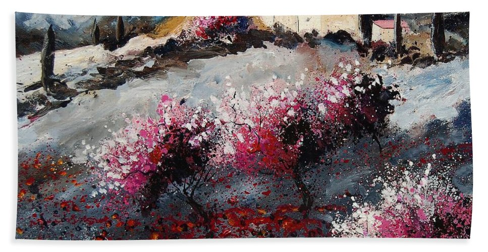Provence Hand Towel featuring the painting Provence 675458 by Pol Ledent