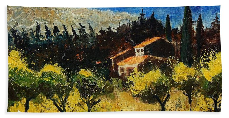 Provence Hand Towel featuring the painting Provence 678965 by Pol Ledent