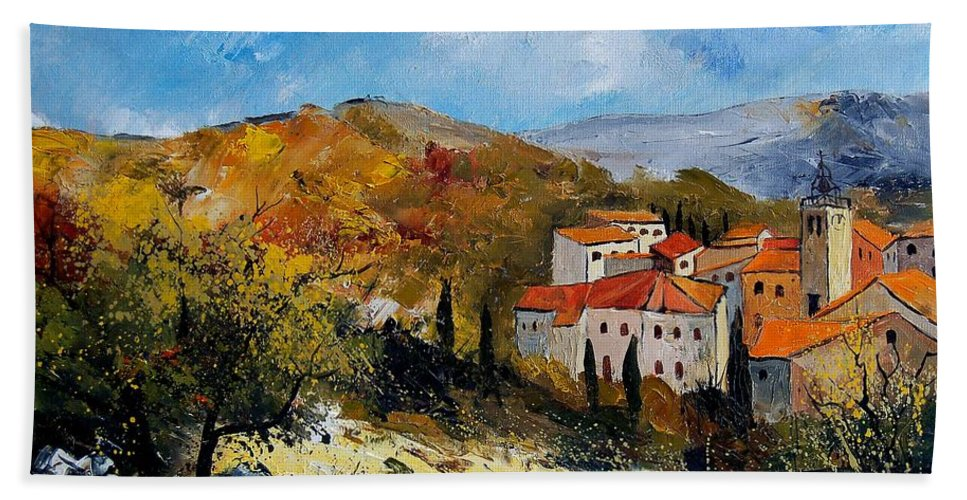 Provence Hand Towel featuring the painting Provence 679050 by Pol Ledent
