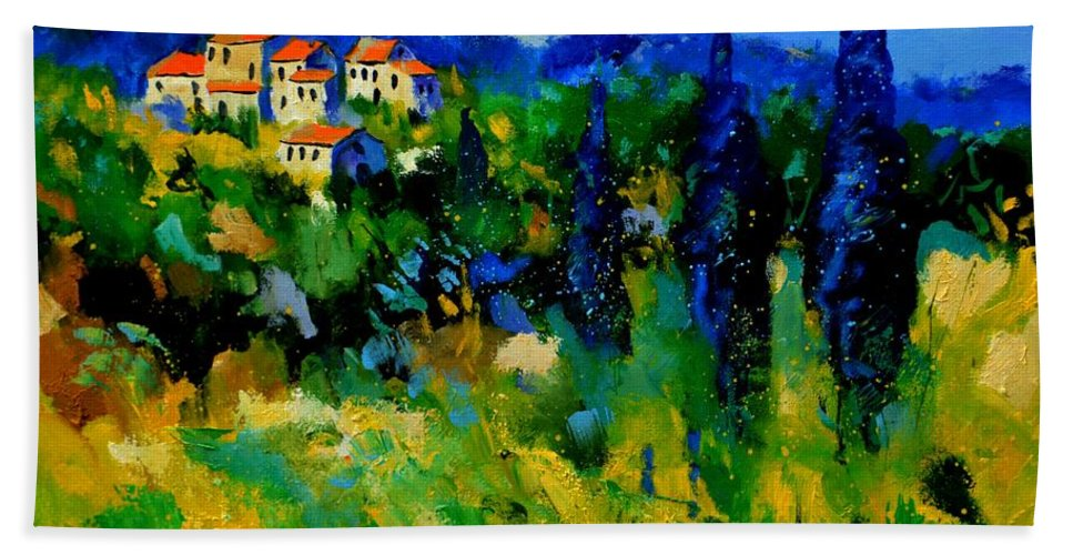 Landscape Bath Sheet featuring the painting Provence 768110 by Pol Ledent