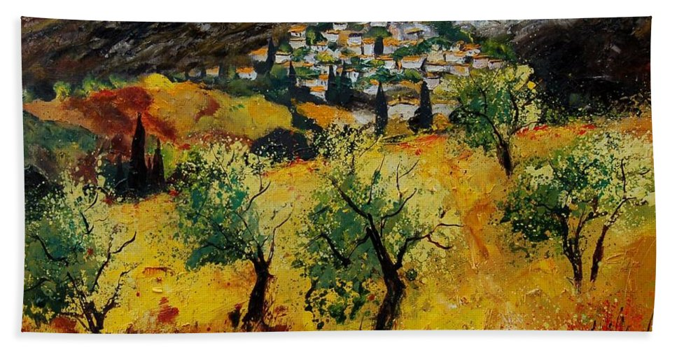 Provence Bath Towel featuring the painting Provence 789080 by Pol Ledent