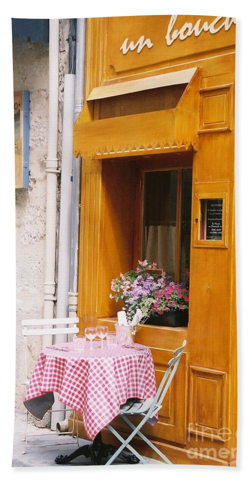 Cafe Bath Sheet featuring the photograph Provence Cafe by Nadine Rippelmeyer