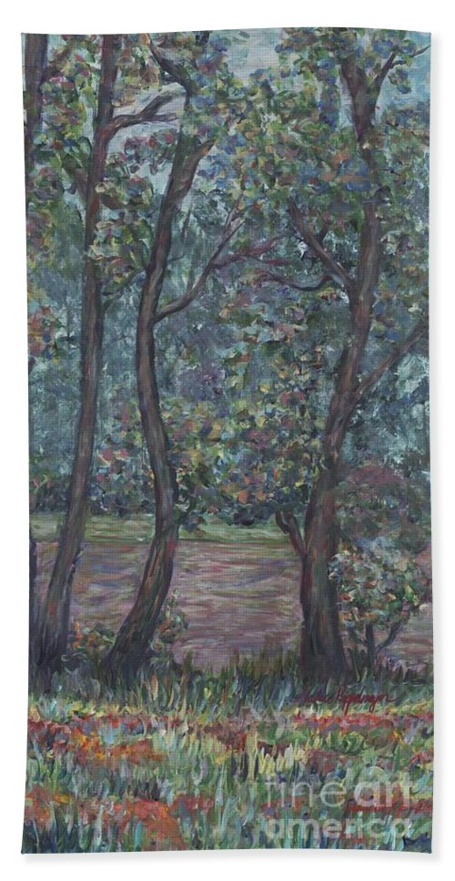 Landscape Bath Towel featuring the painting Provence Flowers by Nadine Rippelmeyer